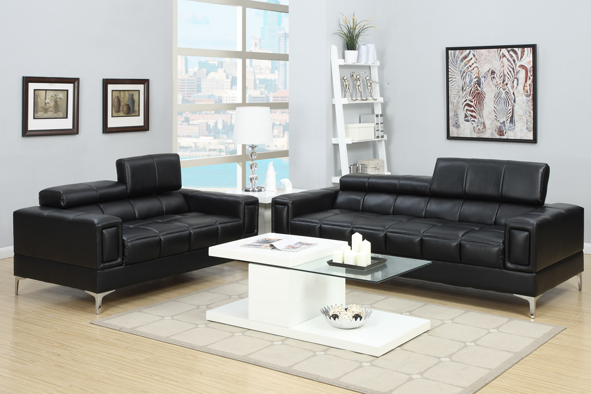 2 PCS Black Bonded Leather Sofa Set