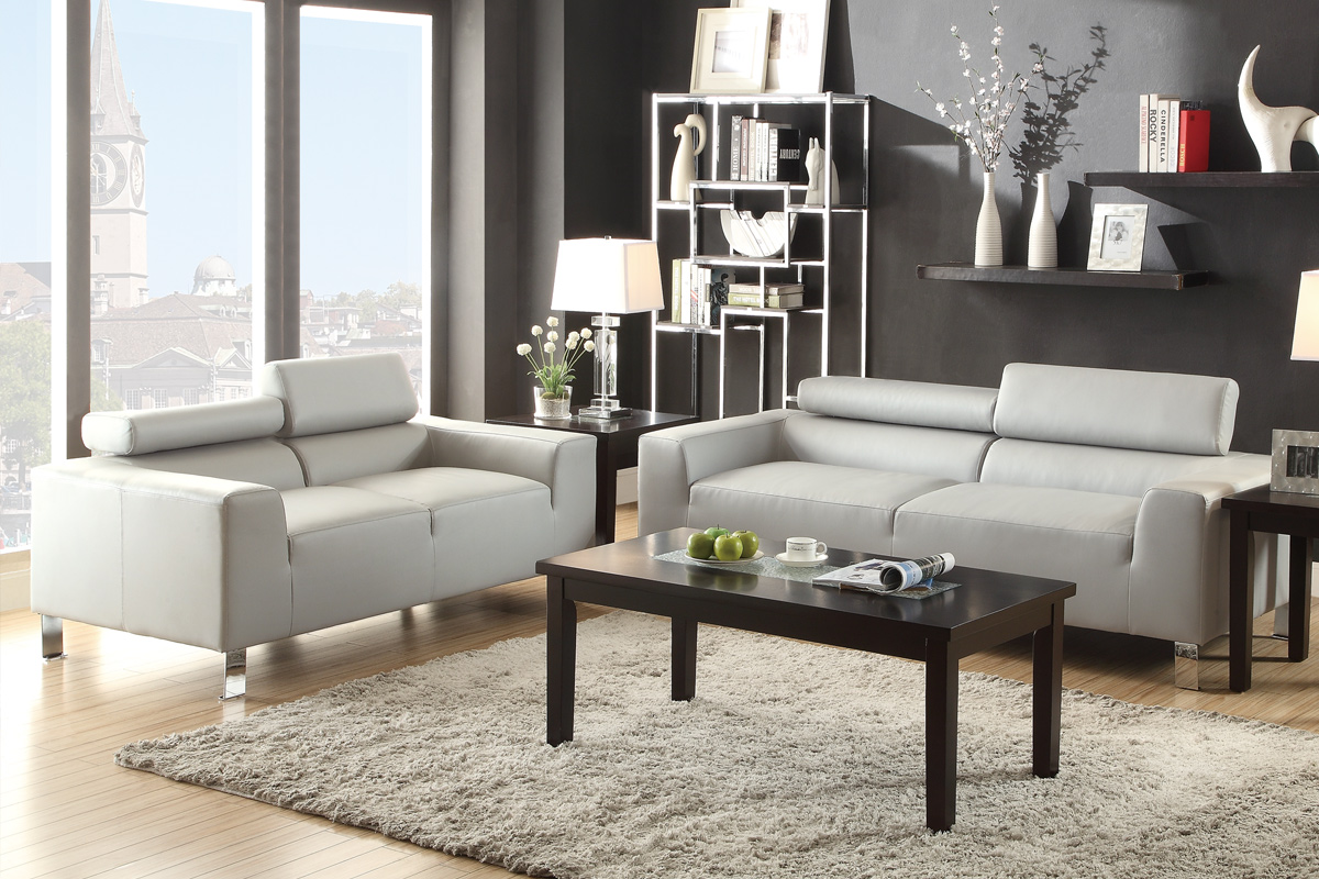 2 PCS Grey Bonded Leather Sofa Set