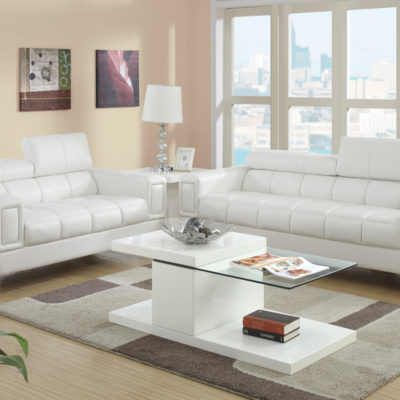 White Bonded Leather Sofa Set